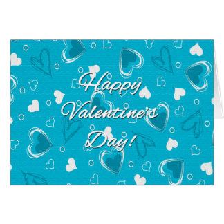 Valentine's Day Blue Hearts - Customize Card