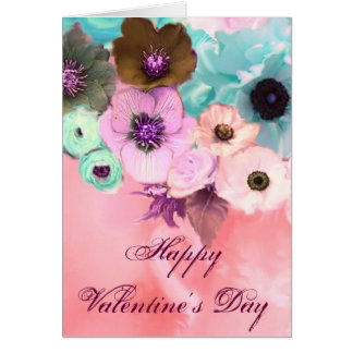 VALENTINE'S DAY BLUE PINK ROSES, ANEMONE FLOWERS CARD