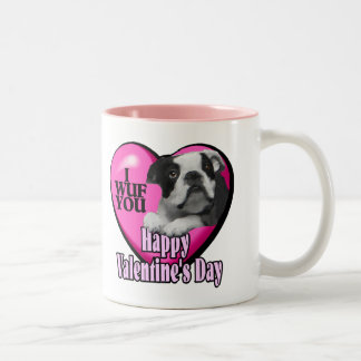 Valentines Day Boston Terrier Two-Tone Coffee Mug