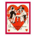 Valentine's Day Bridge Game 4.25x5.5 Paper Invitation Card