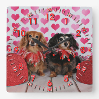 Valentine's Day - Brooklyn & Mandy - Dachshunds Square Wall Clock