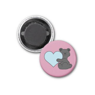 Valentine's Day Brown Bear with Light Blue Heart 1 Inch Round Magnet