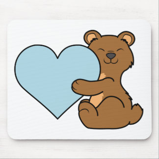 Valentine's Day Brown Bear with Light Blue Heart Mouse Pad
