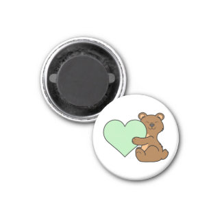 Valentine's Day Brown Bear with Light Green Heart 1 Inch Round Magnet