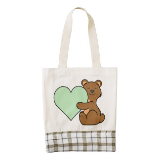 Valentine's Day Brown Bear with Light Green Heart Zazzle HEART Tote Bag