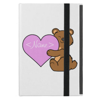 Valentine's Day Brown Bear with Light Pink Heart Cover For iPad Mini
