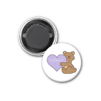 Valentine's Day Brown Bear with Light Purple Heart 1 Inch Round Magnet