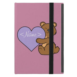 Valentine's Day Brown Bear with Light Purple Heart Cover For iPad Mini