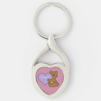 Valentine's Day Brown Bear with Light Purple Heart Keychain