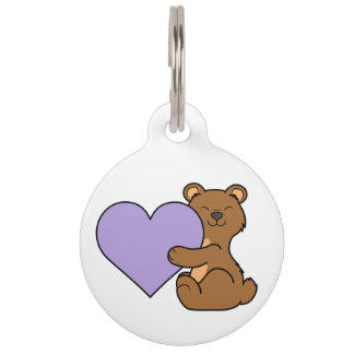 Valentine's Day Brown Bear with Light Purple Heart Pet Name Tag