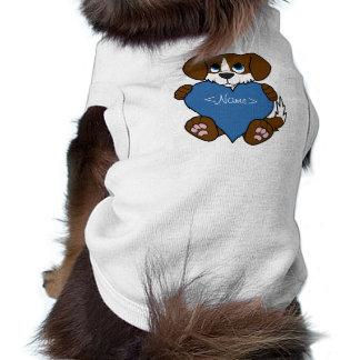 Valentine's Day Brown Dog with Blaze & Blue Heart T-Shirt