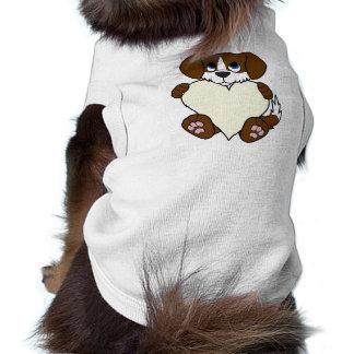 Valentine's Day Brown Dog with Blaze & Cream Heart Shirt