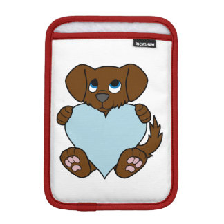 Valentine's Day Brown Dog with Light Blue Heart Sleeve For iPad Mini