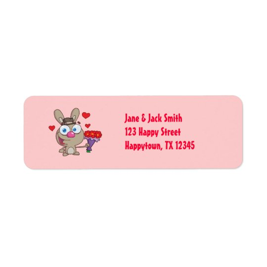 Valentine's Day Bunny Rabbit Cute Address Labels