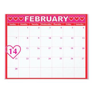 Valentines Day Calendar 4.25x5.5 Paper Invitation Card