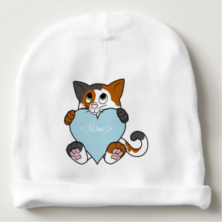 Valentine's Day Calico Cat with Light Blue Heart Baby Beanie