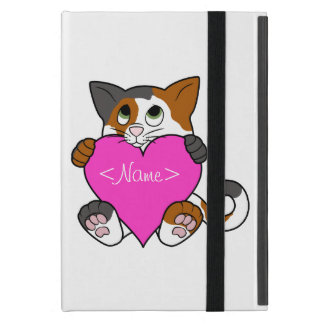 Valentine's Day Calico Cat with Pink Heart iPad Mini Cover