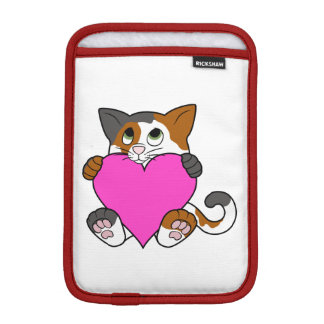 Valentine's Day Calico Cat with Pink Heart Sleeve For iPad Mini