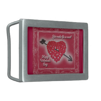 Valentine's Day Candy Heart Greeting Belt Buckle