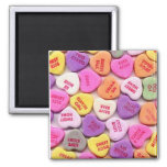 Valentine's Day Candy Hearts 2 Inch Square Magnet
