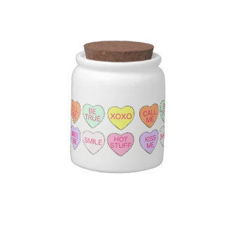 Valentine's Day Candy Sweet Conversation Hearts Candy Jar