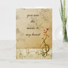 Valentines Day Card - You are the Music to my Heart