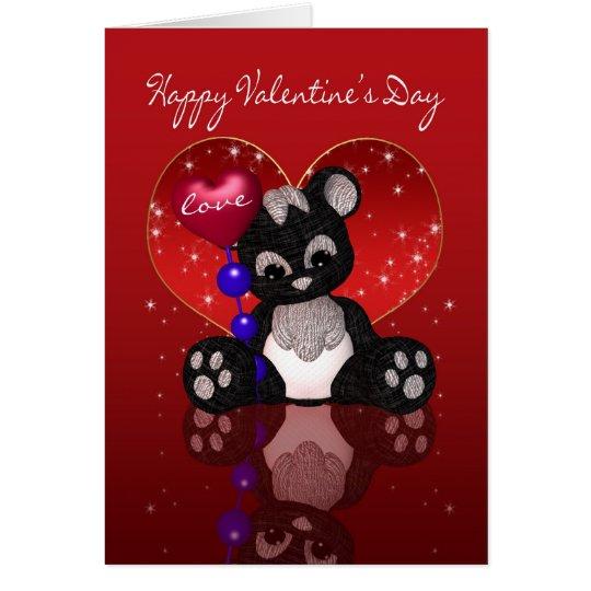 Valentine's Day Card - Cute Cloth Panda Bear