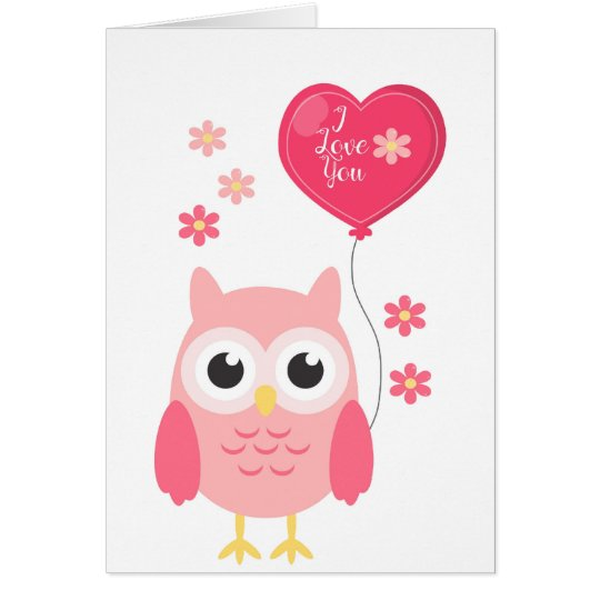 Valentines Day Card Cute Pink Owl I Love You – Owl Valentines Day Cards