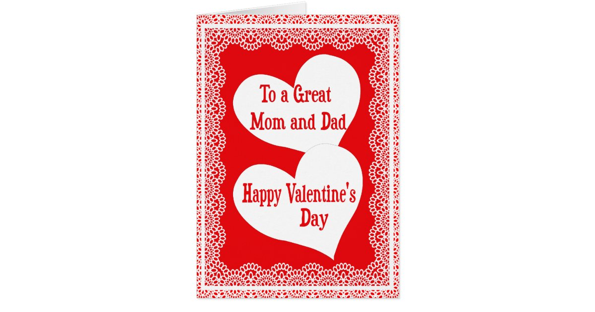 valentines day card for a special mom and dad zazzlecom - Valentines Day Card For Mom