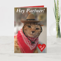 Valentine's Day card for cat lovers and cowboys!