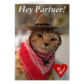 Valentine's Day card for cat lovers and cowboys! cat greeting cards