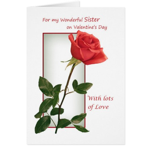 Valentine's Day card for Sister - red rose.