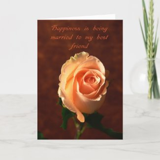 Valentine's day card -Peach rose Happiness is.... card