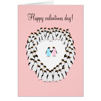 Valentines day card, Penguins in love. Card