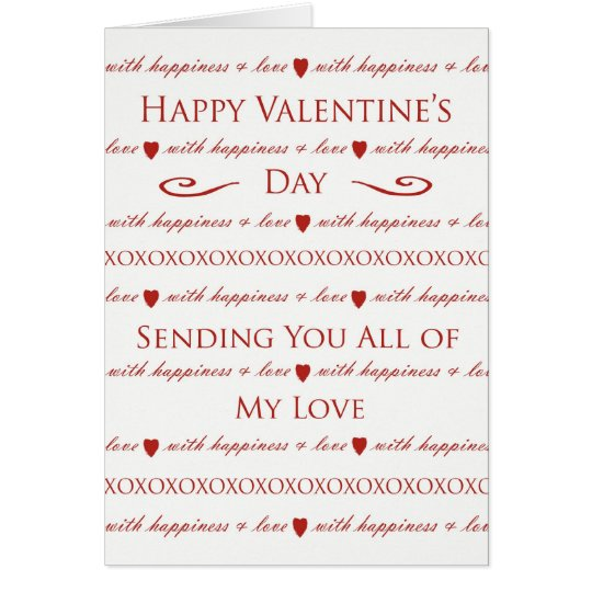 Valentine's Day Card, Sending You All My Love Card