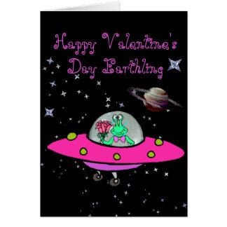 Valentine's Day Card w/Alien in a Spaceship