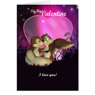 Valentine's Day Card With Cute Love Squirrels
