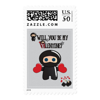 Valentine's Day Card with Cute Ninja Characters Postage