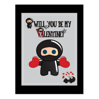 Valentine's Day Card with Cute Ninja Characters Postcard