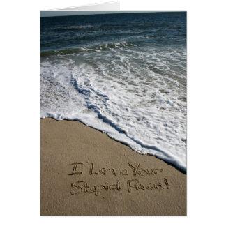 Valentine's Day Card Written on the Beach