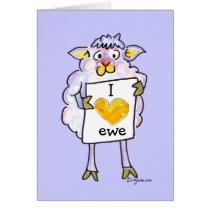 Valentines Day Cartoon Sheep Card