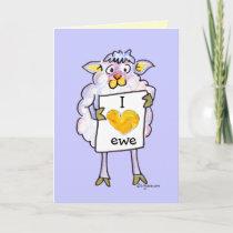 Valentines Day Cartoon Sheep Holiday Card
