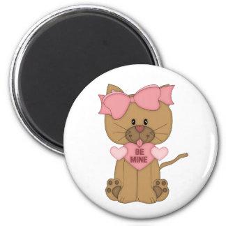 Valentines Day Cat Be Mine 2 Inch Round Magnet