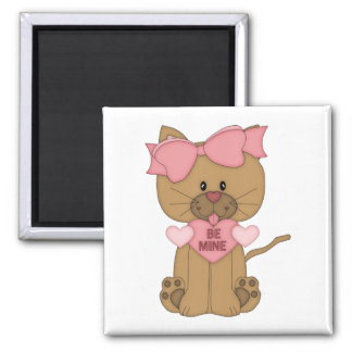 Valentines Day Cat Be Mine 2 Inch Square Magnet