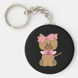 Valentines Day Cat Be Mine Basic Round Button Keychain