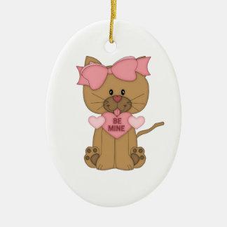 Valentines Day Cat Be Mine Ceramic Ornament