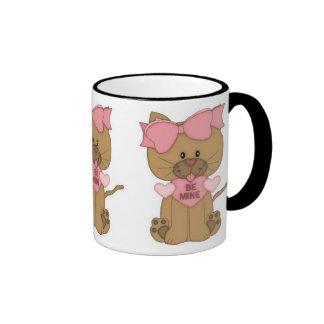 Valentines Day Cat Be Mine Ringer Mug