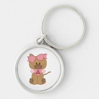 Valentines Day Cat Be Mine Silver-Colored Round Keychain