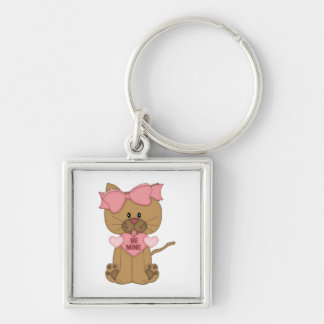 Valentines Day Cat Be Mine Silver-Colored Square Keychain