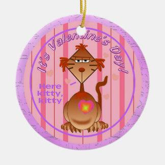 Valentines Day Cat Ceramic Ornament